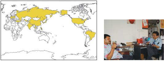 図2:15 国調査の対象国とバングラデシュでの調査風景