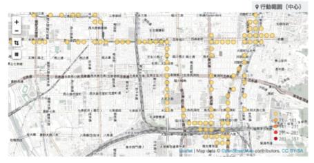 図1:「お出かけ行動範囲」デジタルデバイスで得たデータから外出時の行動範囲を分析・視覚化したもの