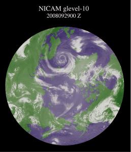 図1:筑波大学計算科学研究センターのスーパーコンピュータT2K による全球雲解析(渦を巻いている部分が北極低気圧)
