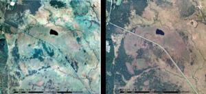 図1:釧路湿原高層湿原地帯の国土地理院撮影航空写真 左)1977 年9 月23 日撮影、右)2011 年10 月4 日撮影