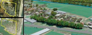 図2:東日本大震災復興計画へ    の参画 左上)震災前の航空写真 左下)震災後の航空写真 右)CG で再現された集落