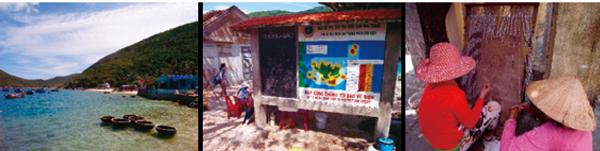 図3:左)ニャチャン保護区内ムン島の様子、中央)保護区内の漁業禁止区域等を示す看板、    右)漁業に代わる収入源として、お土産用の貝殻カーテンを編む島民たち
