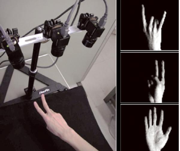 図1:指文字認識システム。複数台のカメラで撮影した    画像を、様々な指文字と照合する。