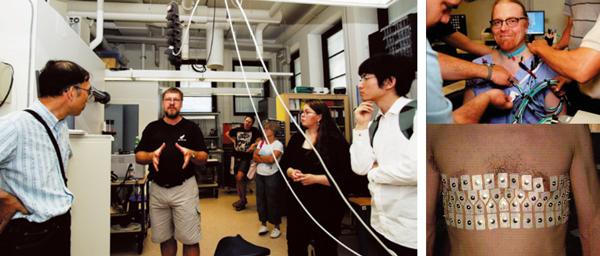 図2:ヘルシンキ大学Samuli Siltanen 教授が自ら体表の電流測定テスト